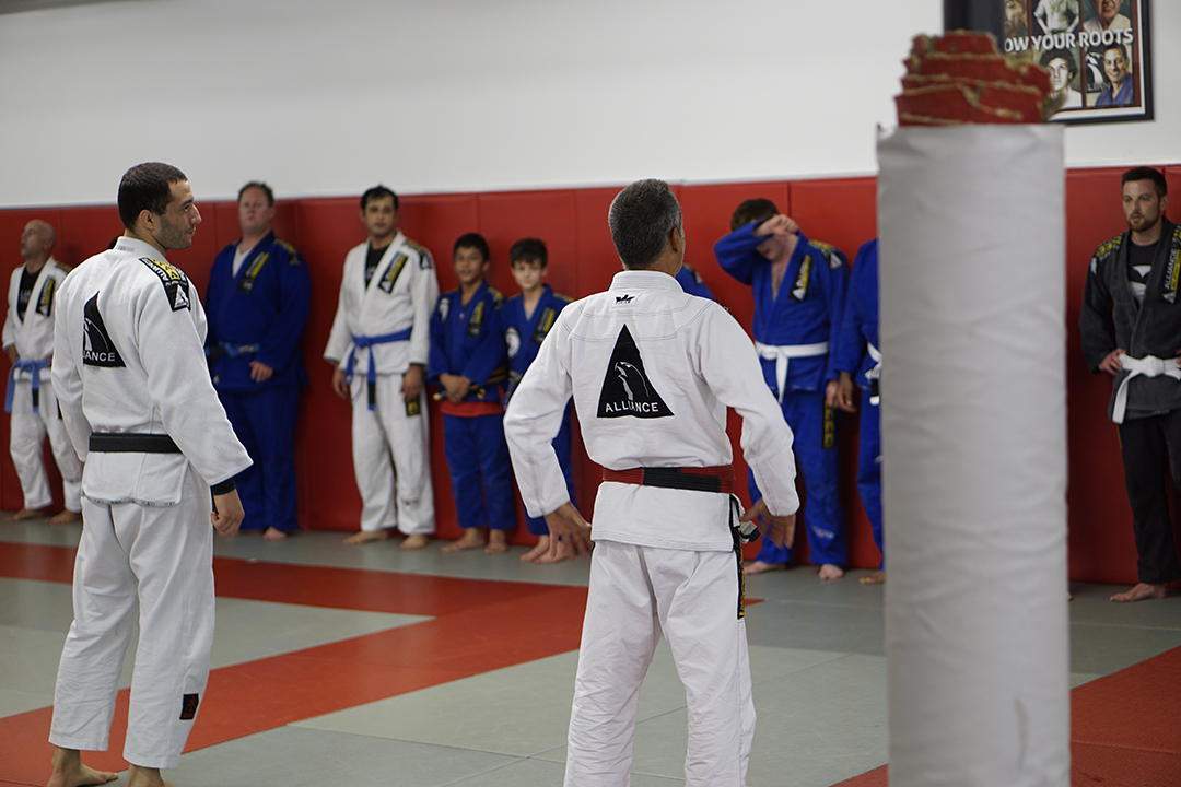 Jacare and Leo addressing the class